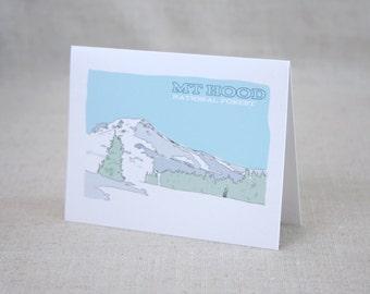 Mt Hood National Forest Blank Note Card / Illustrated Landscape / Modern Oregon Note Card