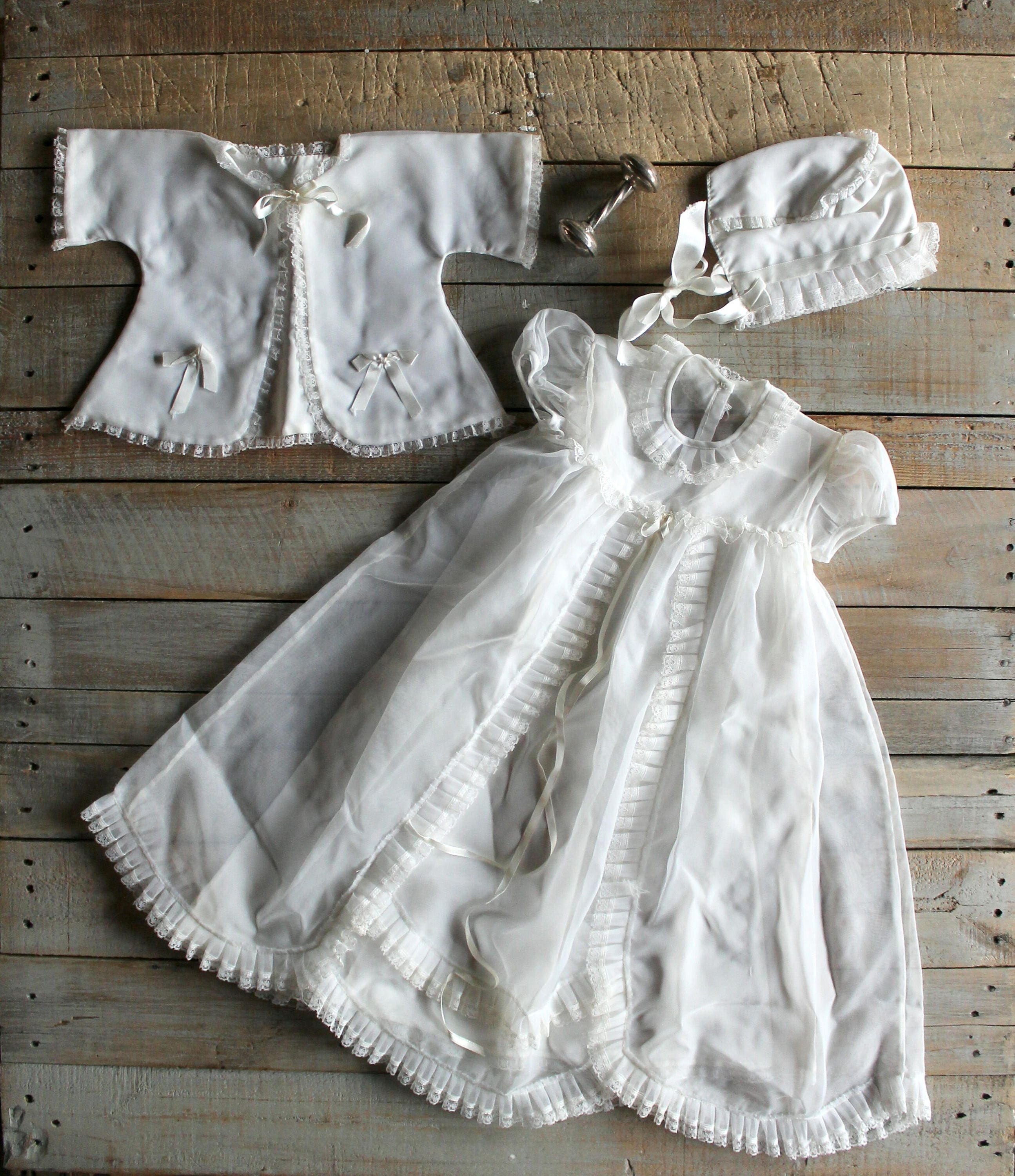 Vintage White Christening / Baptism/ Gown Coat and Hat