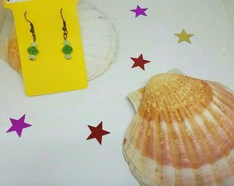 Earrings Crystal and cat's eye beads
