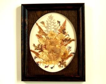 Vintage Dried Flower Collage Framed Art Flower Picture Woodland Pressed Flower Unique Gift Idea Supreme Wedding Gift Cool Gift Under 50