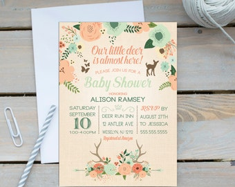 Deer Baby Shower Invitation Baby Shower Printable Invitation Woodland Baby Shower Our Little Deer Invitation Coral Mint Gender Neutral Fawn