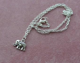 Lucky Elephant Necklace Tiny Silver Elephant Charm  Necklace, Dainty Silver Necklace, Charm Necklace, Charm Pendant, Elephant Jewellery