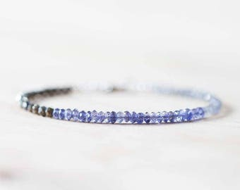Labradorite, Pyrite & Iolite Bracelet, Delicate Multi Gemstone Bracelet, Labradorite Jewelry, Rose Gold Filled or Sterling Silver