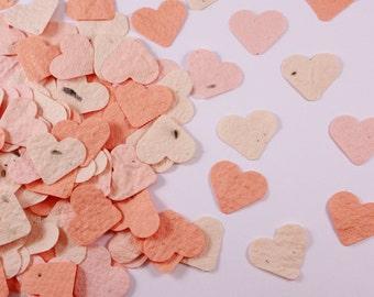 Plantable Hearts Wedding Confetti peach and orange, plantable paper, eco friendly wedding table decorations