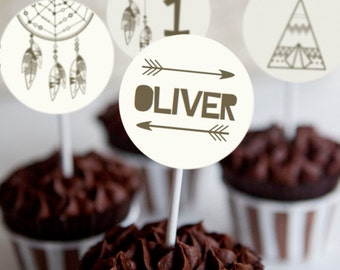 Tribal Cupcake Toppers - Set of 12 - Little Adventurer Birthday Party - Tribal Party - Instant Download and Edit with Adobe Reader