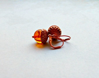 Amber Acorn Earrings Copper Acorn Earrings Gifts for Her Valentine's  Gifts for herAcorn Gifts under 25