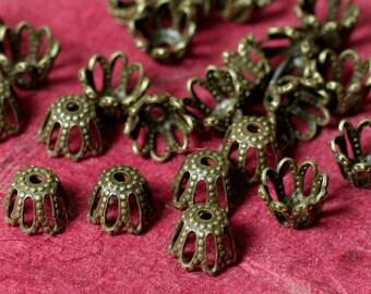 Antique brass bead cap 6mm, 48 pcs (item ID XMXH00813AB)