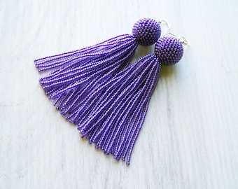 Purple violet beaded tassel earrings - Statement earrings - long dangle  earrings - fringe earrings - beadwork violet tassle earrings