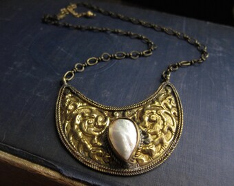 Tribal Necklace,Crescent Moon Necklace,Gold Shield Necklace,Mother of Pearl,Tibetan Shield Necklace,Tribal Shield Necklace,Pearl Gold,Brass