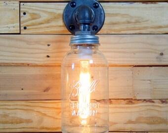 Clear Half Gallon Mason Jar Wall Sconce Light Black Iron Industrial Steampunk Style