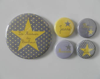 1 magnet 56 mm + 4 magnets - home of happiness - 25mm yellow with gray polka dots personalized