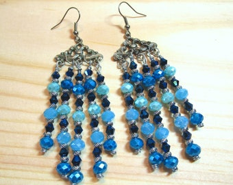 BEADED CHANDELIER EARRINGS... Bohemian, Boho, Ethnic, Tribal, Shades of Blue & Silver Colors, item #36