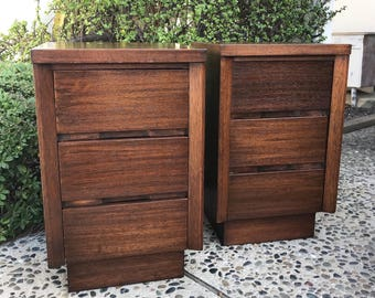 MID CENTURY MODERN **One Pair Available** of 3 Drawer Nightstands