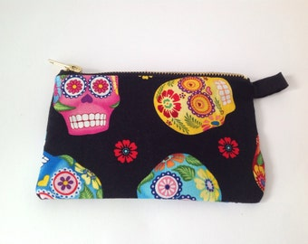 Sugar skull change purse, cosmetics pouch with sturdy metal zipper