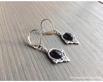 Art deco Iza earrings, sterling silver and onyx