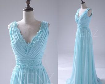 Aqua Bridesmaid Dress, Flower Deep V neck Wedding Dress, Long Backless Party Dress, Chiffon Formal Dress Floor Length (S040)