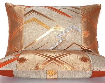 Stunning Luxury bolster Cushions in Copper Silver & Gold metallic geometric made from woven Vintage Japanese Obi Silks Limited Edition of 2
