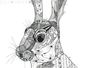 Hare Giclee fine art print/ A4 black and white print