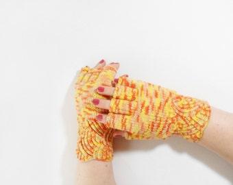 Hand Knitted Fingerless Gloves - Yellow, Orange, Size Medium
