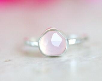 Rose Quartz Ring, Rose Cut Rose Quartz Ring, Pink Gemstone Ring