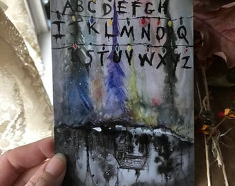 4x6 Stranger Things Upside Down Ouija Art Print from Orig Painting Halloween Autumn Christmas Terri Foss Special Price & Free Ship after 1st