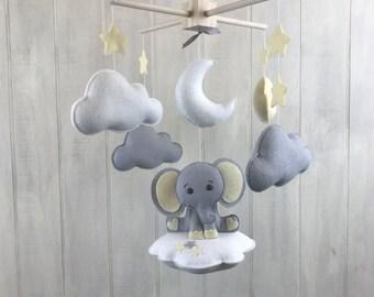 Baby mobile - elephant mobile - baby crib mobile - cloud mobile - elephant baby mobile star - yellow and grey nursery - nursery mobile