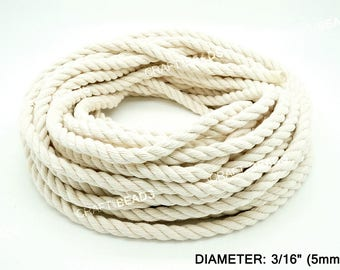 5MM - Natural White 3 Strand Cotton Twisted Cord Rope Craft Macrame Artisan 30 Feet Coil/Pkg
