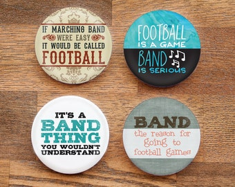 Set of Four Funny Marching Band 2.25 inch Pinback Buttons or Magnets - Set 1
