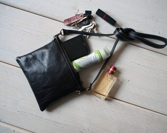 Small Leather Bag, Crossbody Bag, Leather crossbody bag, Small crossbody bag, Light Travel Purse, Travel purse, Travel case, Zipper pouch