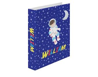Astronaut Personalized Binder - Astronaut Night Sky Moon Star Rocket, Customized Pocket Binder 3 Ring Binder 2 Inch Spine Back to School