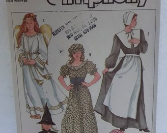 Pilgrim, Angel, Prairie And Witch Costume Pattern From Simplicity, #7650, 1986
