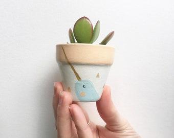 Mini Narwhal Planter, Mini Succulent, Hand Painted, Terra Cotta, Succulent, Succulent Planter