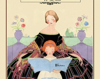 Beautiful Mother and Child Print, Reading a Book of Fairytales Motto I had a Mother who Read to Me Torre Bevans 11x17 Giclee Art Print ,1916