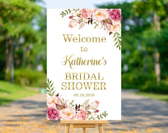 Boho Bridal Shower Welcome Sign Poster Printable, Floral Bohemian Welcome to Bridal Shower Decorations, Gold, Personalized Sign