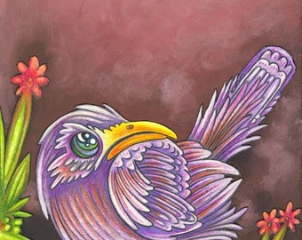 """Beautiful Bird 4 - 8 x 10"""" ART PRINT of a grumpy but whimsical grape purple bird sitting on a bright green branch with tiny red flowers"""