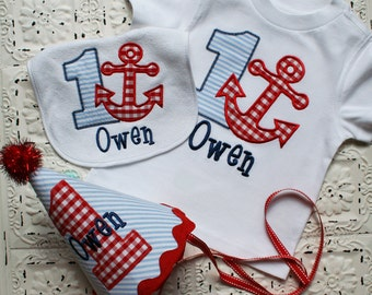 Boys or Girls Anchor Nautical Birthday Applique Shirt, Bib and Hat- Free Personalization-- All birthday numbers are available