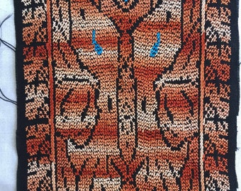 Vintage Bird Bedouin Embroidery Textile Fabric | Ethnic Tribal Textile Crafting Quilting | Bohemian Boho Fabric Browns Earth Tones Ochre
