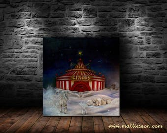 Circus picture Inside Out-circus surreal oil painting by Mattiesson