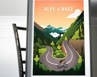 Alpe d'Huez Cycling Print