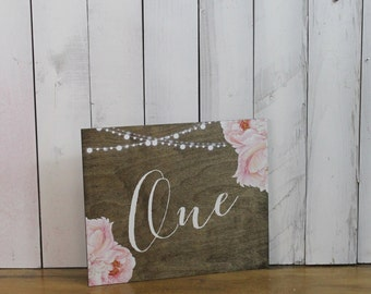 Table Numbers/Flowers/Peonies/String Lights/Watercolor/Reception Decor/Numbers/Wood/Fancy Board/Reception Sign/Wedding Sign/Stained Wood
