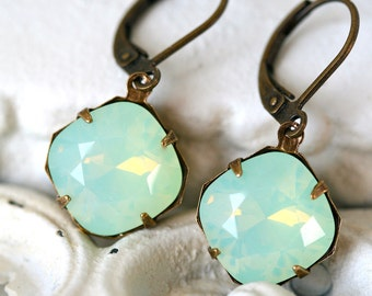 Chrysolite Opal Earrings, Swarovski Crystal Earrings, Cushion Cut, Estate Style Earrings, Opal Earrings