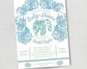 Indian Elephant Baby Shower Invitation, Printable, Boy Baby Shower Invite, Blue And Green, Paisley, Ballywood, Boho, Henna, Seemantham