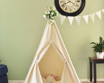 Pompom Natural Canvas Kids Teepee, Play Tent, Play House, Tipi,Room Decor