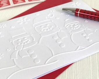 Snowmen Christmas Cards Pack (No.145) - Set of 6 Snowmen Embossed Christmas Cards.  White Christmas Cards, Winter Card, Minimalist Note Card