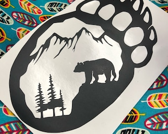 Bear print decal (black)
