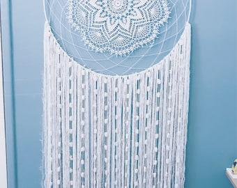 70cm (W) x 174cm (L) Large white Dreamcatcher