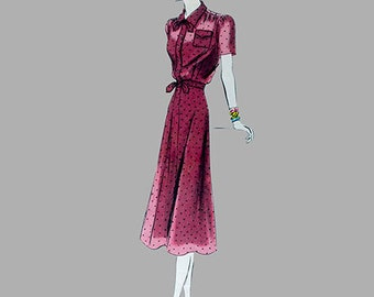 Rare 1930s Dress pattern Vogue 8004/Bust 34/Easy to make/Buttoned front closing/Gathered sleeves and front shoulders/Size 16/Flared skirt/