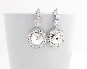 Statement Wedding Earrings, Bridal Earings, Bridal Drop Earrings, Bridal Crystal Earrings, Swarovski Crystal Bridal Earring, Wedding Jewelry