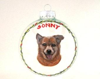Dog Ornament, Custom Pet Portrait, Hand Painted Dog, Glass Ball, Original Art, Pet Memorial, Dog Loss, Christmas Decor, Tree Decoration