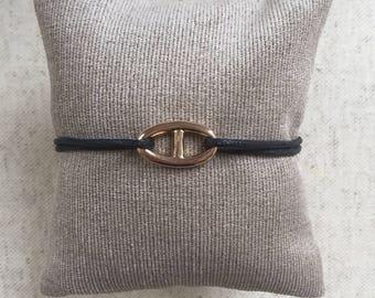 Navy Mesh Bracelet gold plated on cord
